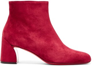 Christian Louboutin Turela 55 Suede Ankle Boots - Womens - Burgundy