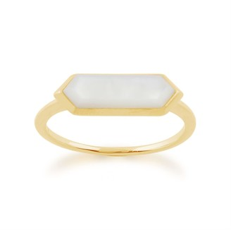 Gemondo Mother Of Pearl Prism Ring in Gold Plated Silver