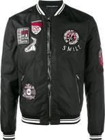 Dolce & Gabbana patch embellished bomber jacket - men - Sheep Skin/Shearling/Polyamide/Polyester - 48