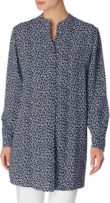 Anne Klein Floral Print Split Neck Tunic