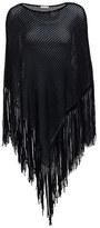 Minnie Rose S39421C16 Cotton Open Mesh Marled Fringe Hankie Poncho in Black/Black