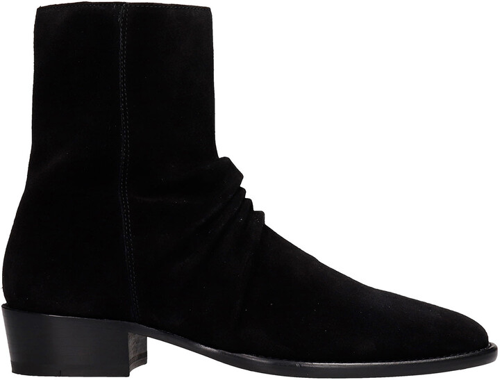 Amiri Ankle Boots In Black Suede