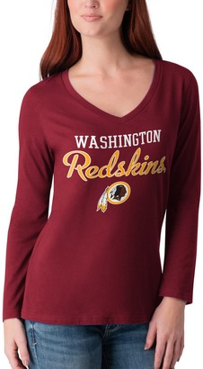 Redskins Women's G-III 4Her by Carl Banks Burgundy Washington Post Season Long Sleeve V-Neck T-Shirt