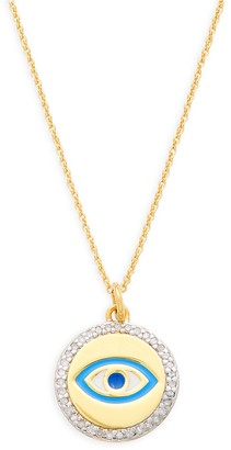 La Soula 14K Goldplated Sterling Silver Diamond Evil Eye Pendant Necklace