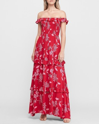 Express Floral Off The Shoulder Tiered Maxi Dress