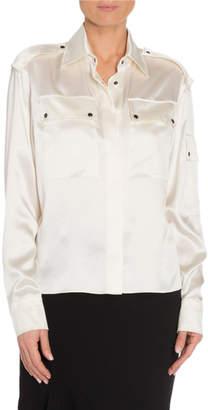 Tom Ford Silk Sheer-Back Oversized Blouse