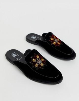 Asos Design DESIGN backless mule loafer in black velvet with badge
