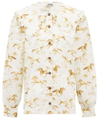 Ganni Horse-print Ruffled-collar Cotton-poplin Shirt - White Multi
