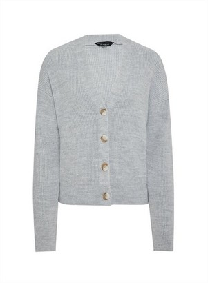 Dorothy Perkins Womens Grey Button Knitted Cardigan, Grey