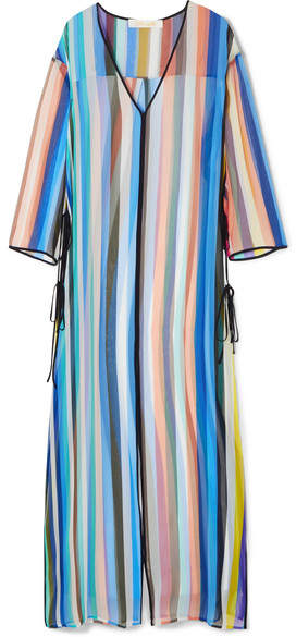 Diane von Furstenberg Striped Silk-chiffon Tunic - Blue