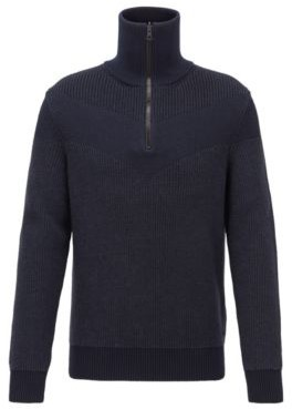 HUGO BOSS Knitted Sweater With V Shaped Intarsia And Reversible Zipper - Dark Blue