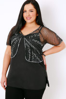 Yours Clothing Black & Silver Embellished Sequin Shrug With Curved Hem