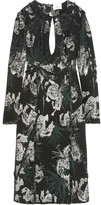 Erdem Chrissy Frayed Cutout Metallic Jacquard Dress - Black