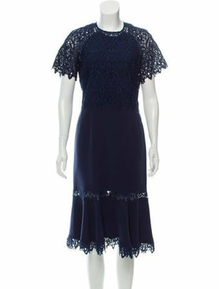 Jonathan Simkhai Crew Neck Midi Length Dress Blue