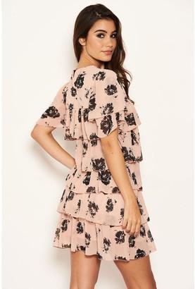 AX Paris Chiffon Tiered Dress - Pink