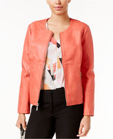 Alfani Petite Faux-Leather Quilted-Trim Jacket, Only at Macy's