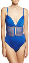 Carmen Marc Valvo Lingerie Mesh V-Neck One-Piece Swimsuit, Blue