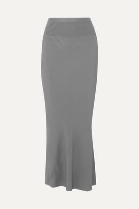 Rick Owens Ribbed Knit-trimmed Crepe De Chine Maxi Skirt - Light blue
