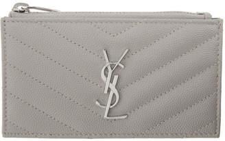 Saint Laurent Grey Monogramme Fragment Zippered Card Holder