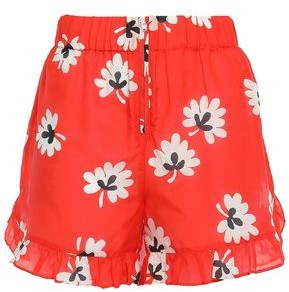 Ganni Linaria Ruffle-trimmed Floral-print Cotton And Silk-blend Shorts