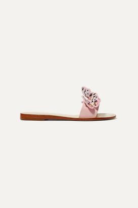 Sophia Webster Riva Appliqued Leather Slides - Pastel pink