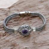 Sterling Silver and Amethyst Pendant Bracelet from Indonesia, 'Faith Protector'