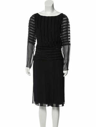 Oscar de la Renta Silk Lace-Trimmed Dress Navy