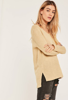 Missguided Petite Nude Knit Long Sleeve Sweater