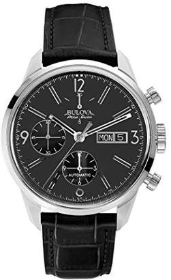 Bulova Accu Swiss Murren Men's Automatic Watch with Black Dial Chronograph Display and Black Leather Strap 63C115