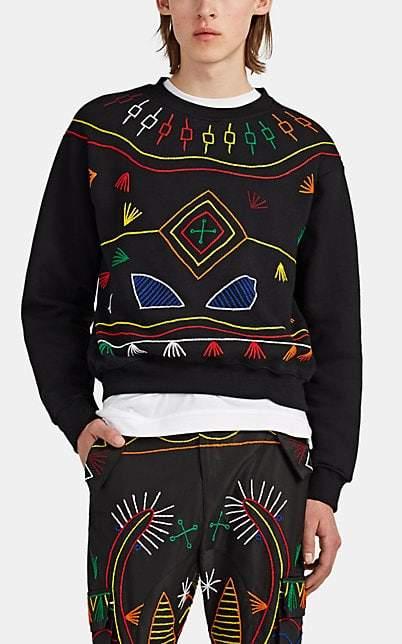 Prabal Gurung Men's Embroidered Cotton Fleece Crewneck Sweatshirt - Black