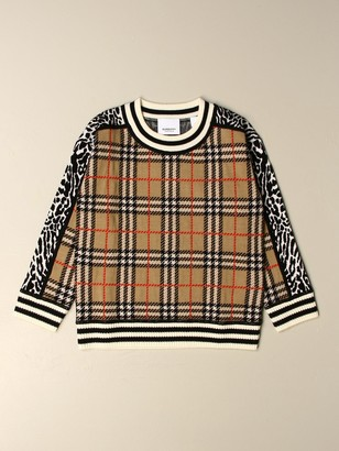 Burberry Sweater In Merino Wool With Animalier Check