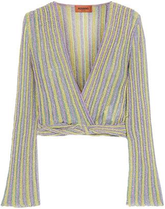 Missoni Cropped Wrap-effect Metallic Striped Crochet-knit Top