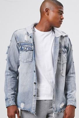 Forever 21 Hooded Distressed Denim Jacket