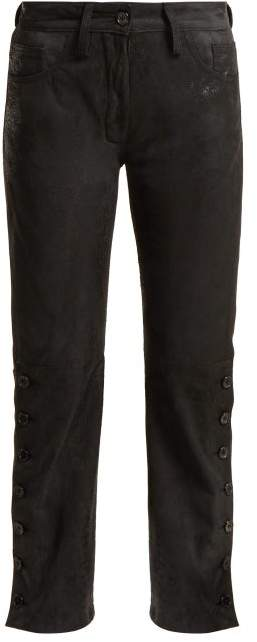 Ann Demeulemeester Distressed Leather Trousers - Womens - Black