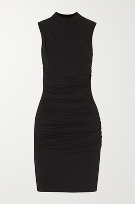 The Line By K Ayme Ruched Stretch-jersey Mini Dress - Black