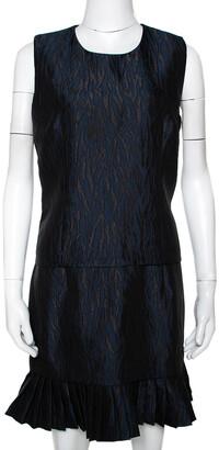 McQ Navy Blue Jacquard Pleated Mini Dress M