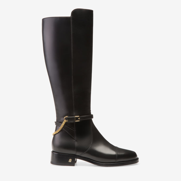 Bally Stelle Black, Women's calf leather long boots in black