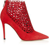 Jimmy Choo MAURICE 100 Red Laser Perforated Suede Booties