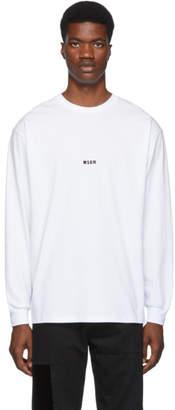 MSGM White Micro Logo Long Sleeve T-Shirt