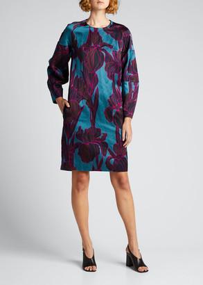 Dries Van Noten Floral Long-Sleeve Shift Dress