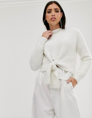 Parallel Lines fluffy soft touch jumper with tie front in white