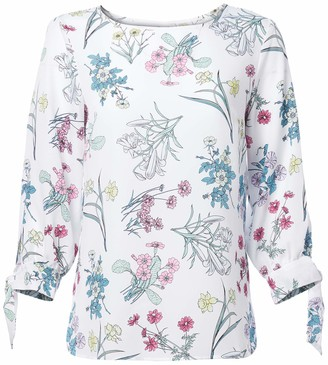 Nine West Women's 3/4 Sleeve Floral Printed Blouse with TIE Detail