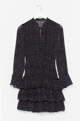 Nasty Gal Womens There's Frill Time Spotty Mini Dress - Black - S