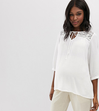 Mama Licious Mamalicious maternity lace detail textured top