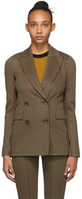 Rosetta Getty Beige and Black Double-Breasted Peaked Lapel Blazer