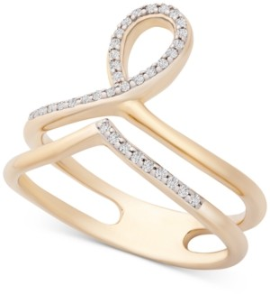 Wrapped Diamond Double Row Loop Ring (1/6 ct. t.w.) in 14k Gold, Created for Macy's