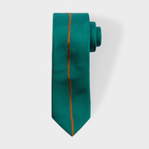 Paul Smith Men's Green Narrow Silk Tie With Large Embroidered Flower