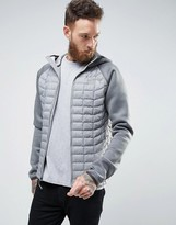 The North Face Upholder Thermoball Jacket Hooded Quilt/neoprene Hybrid In Grey