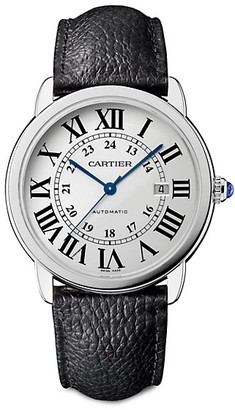 Cartier Ronde de Solo Stainless Steel & Black Leather-Strap Watch/42MM