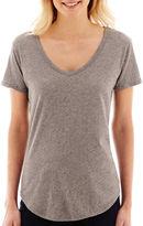 JCPenney STYLUS Stylus Short-Sleeve Metallic Slub T-Shirt- Petites